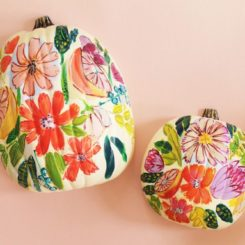 Floral fall pumpkin painting