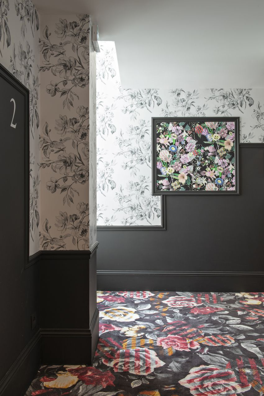 The hallways carry through the edgy botanical theme.