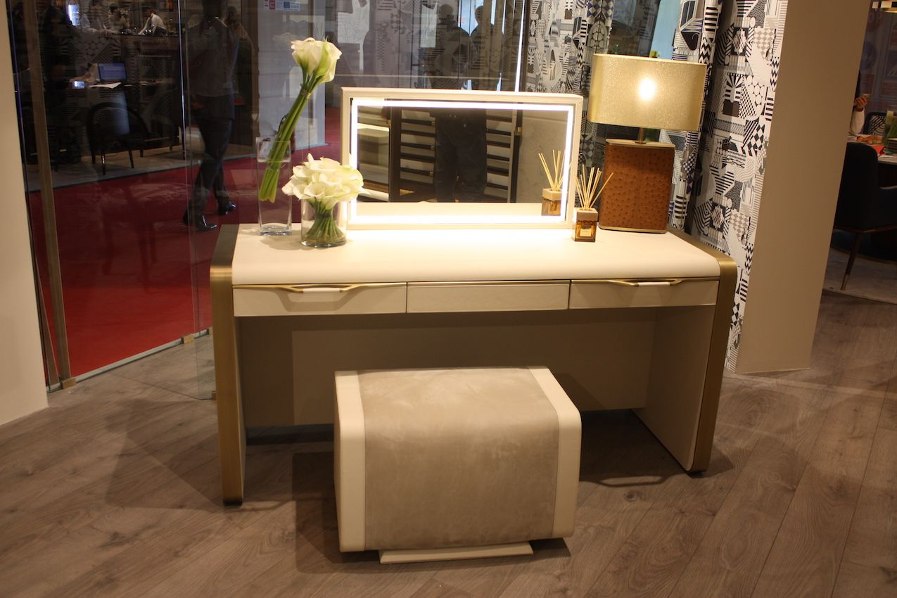 Leather and suede turn simple lines into a texturally luxurious vanity.