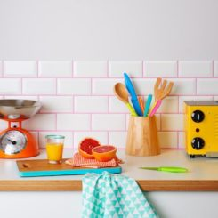 Modern subway tiles with pink grout