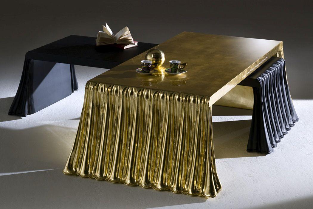 Rectangular gold coffee table design