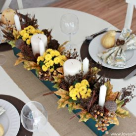 Teal and yellow fall table centerpiece