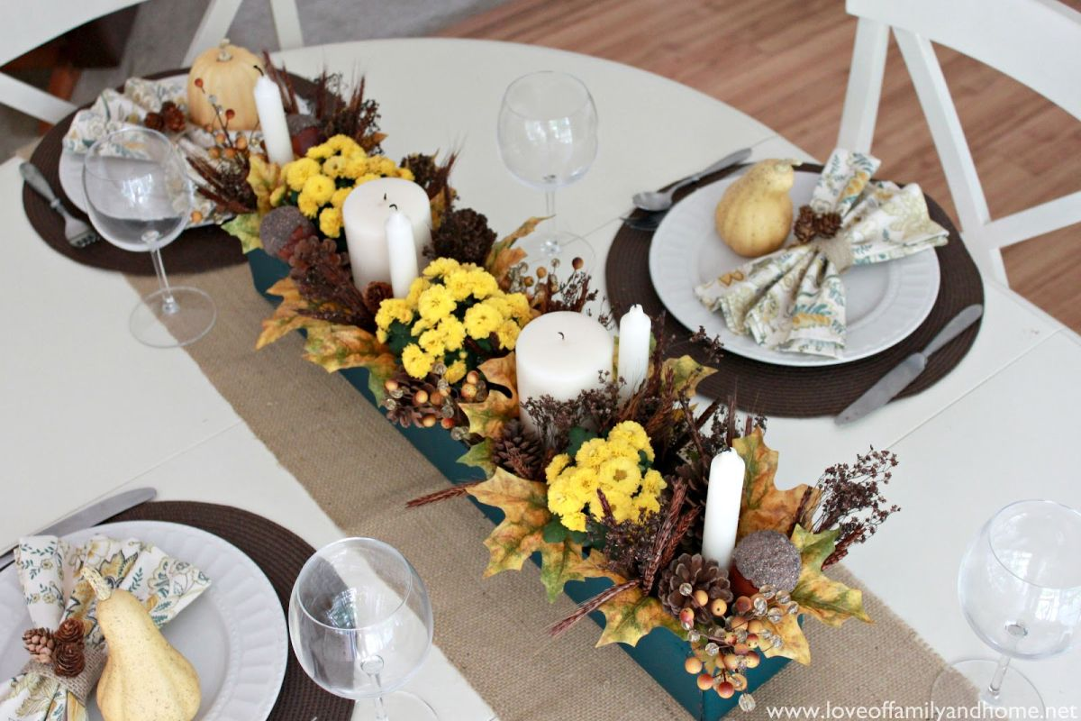 Fall Tablescape with Yellow Mums