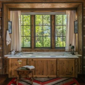 Wooden tub - Rustic Mountain Residence Bathroom Peter Zimmerman Architects