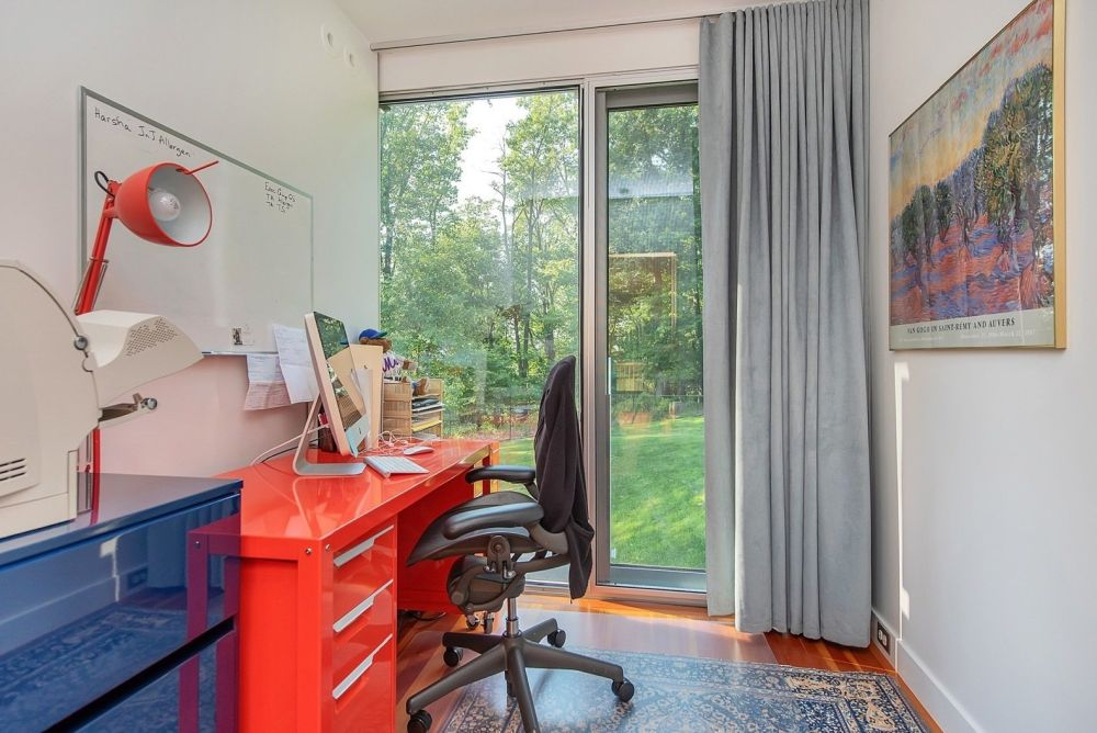 Although small, this office has a lot of character and direct access outdoors