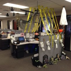 Caution halloween office decor