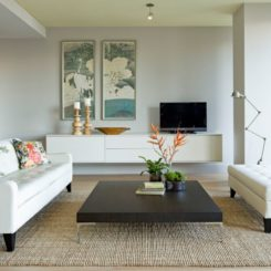 Clean white living room furniture