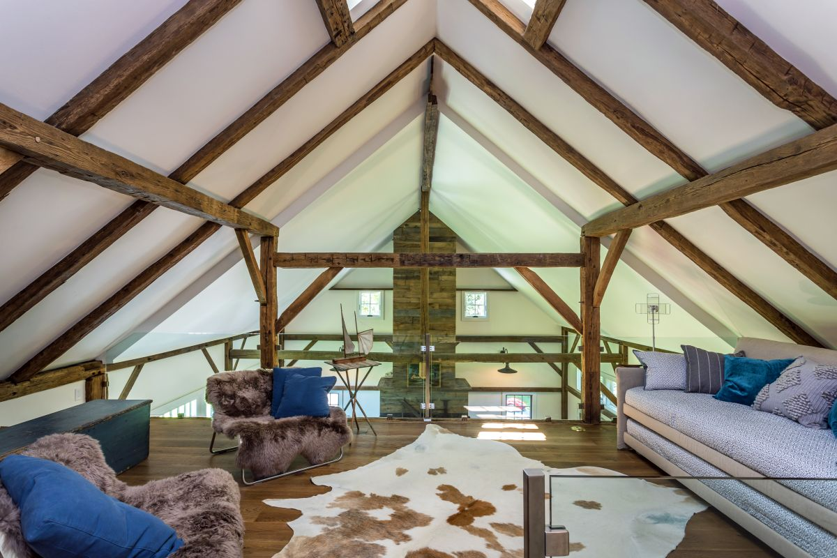 The loft space is warm and cozy, a lot like an attic with a more open feel to it
