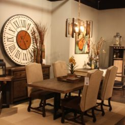 Decorating the dining room wall with an oversized leaning clock