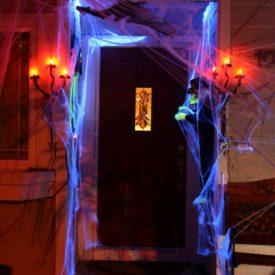 Decorating the front door for halloween