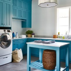 Deep blue shade laundry room decor with a small island