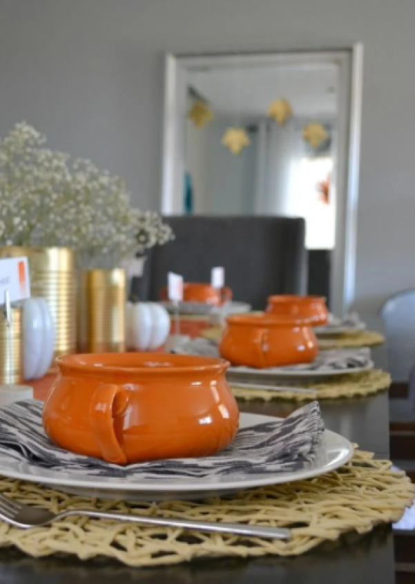 Metal Can and Wildflower Fall Tablescape