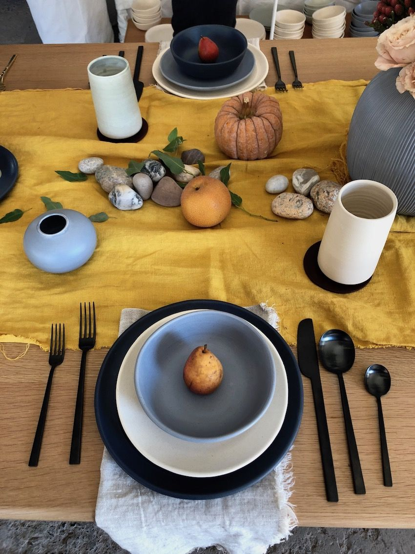 Hand-crafted tableware creates a very welcoming feeling.