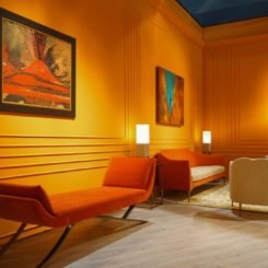 Painting the walls in orange shade and using same color for furniture