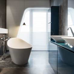 Penthouse bathroom with Gessi freestanding tub