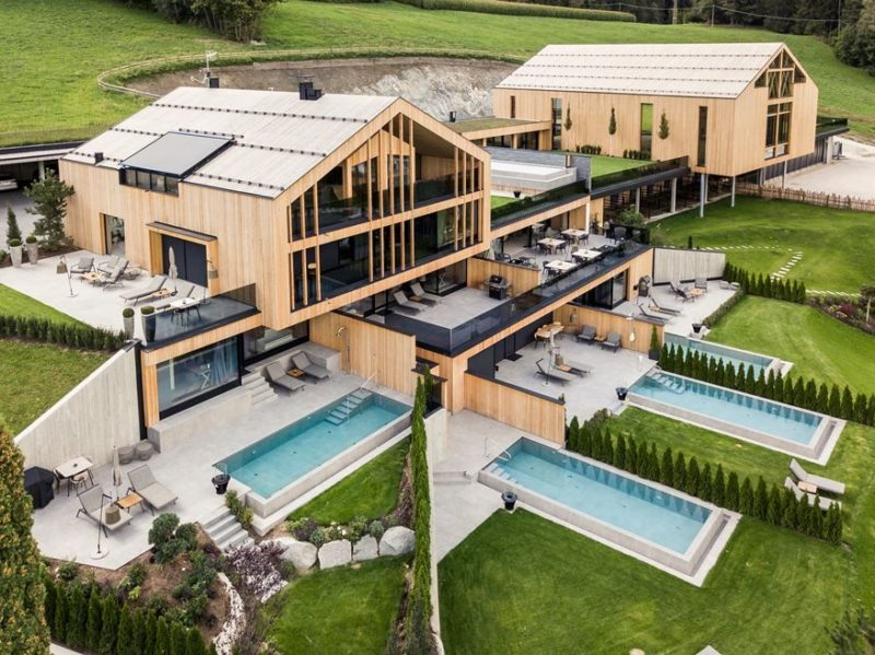 A Luxury Modern Chalet Has A Pool For Each Of Its Suites