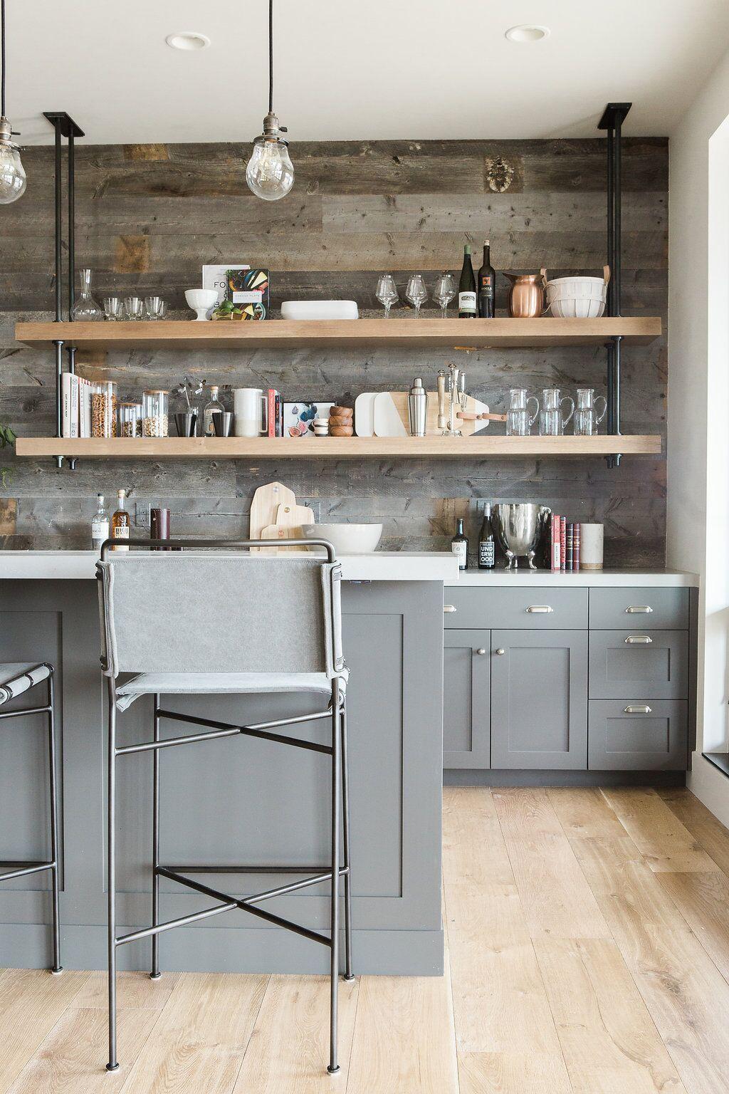 rustic open kitchen shelves
