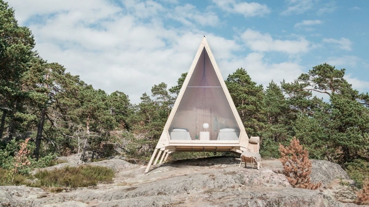 The cabin is a demonstration of how living off-the-grid and n harmony with nature would be like
