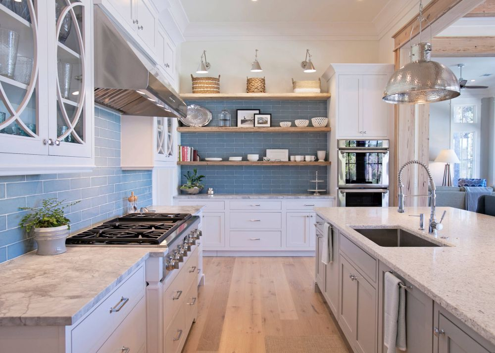 how to decorate open kitchen shelves