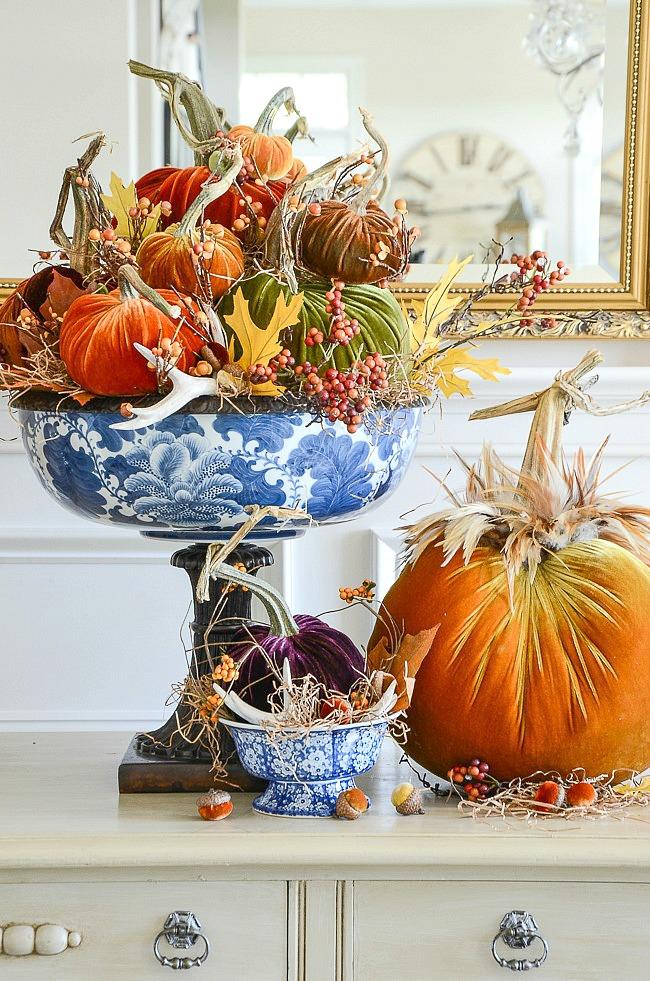Velvet Pumpkin Table Display
