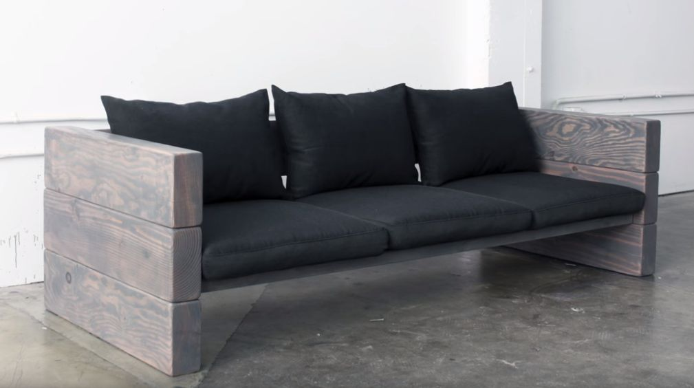 Wood beams outdoor couch