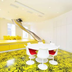 Yellow with black accents painted floor