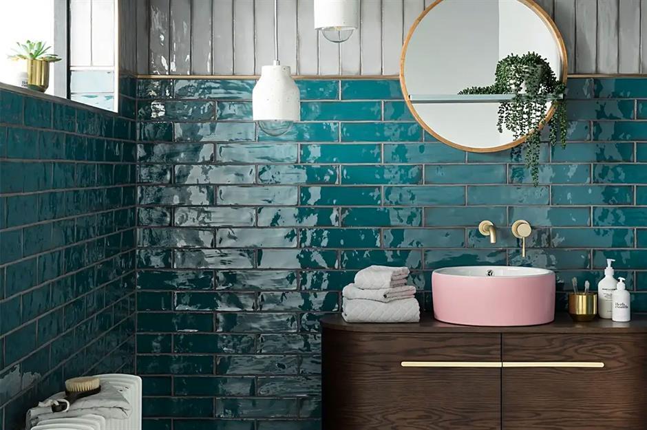 Brighten A Bathroom With Peacock Blue Tile