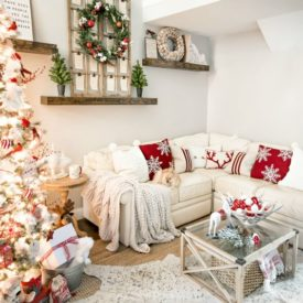 Bringing red accents to the living room on the Christmas
