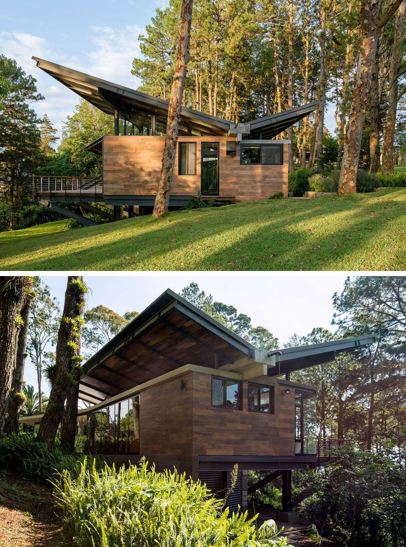 Butterfly roof style on a modern home - Get Small Modern House Roof Design Pics