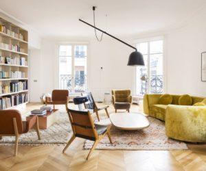 Chartreuse curved velvet sofa