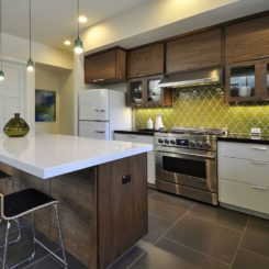 Chartreuse kitchen backsplash