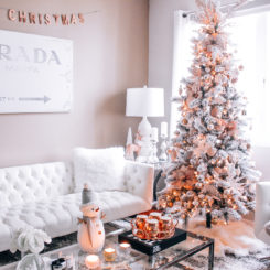 Christmas decor with rose gold accents