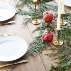 Christmas tree brances and candles