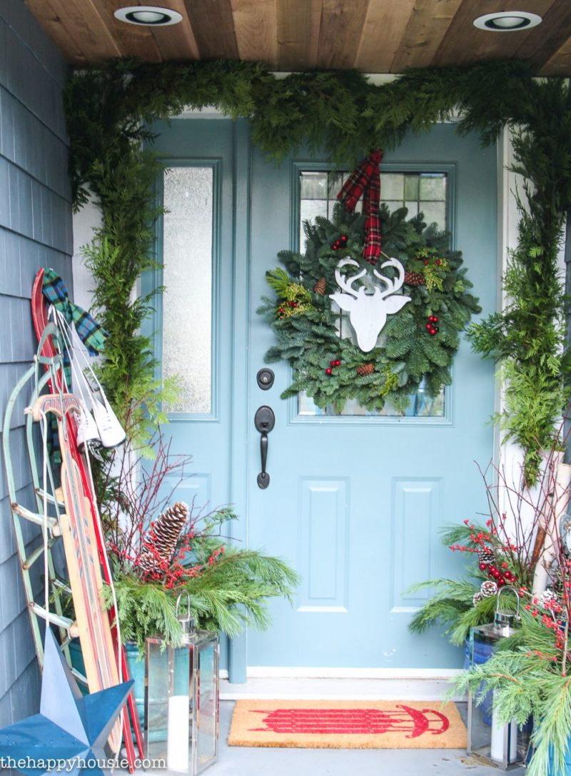 Christmas Door Decor Concept With Cheerful And Cozy Vibes