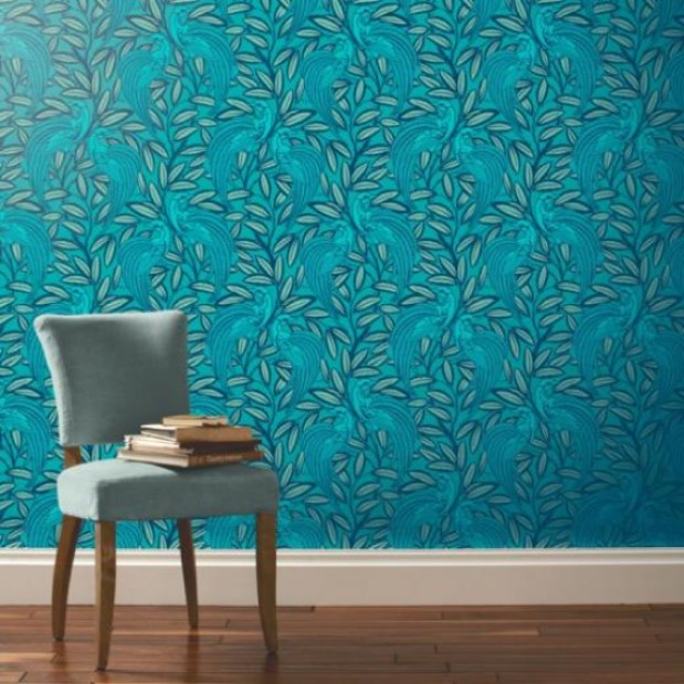 Consider Peacock Blue Colored Wallpaper