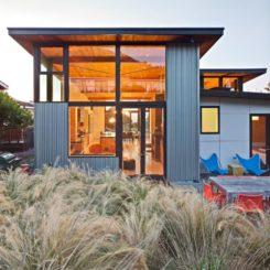 Corruged metal exterior facade