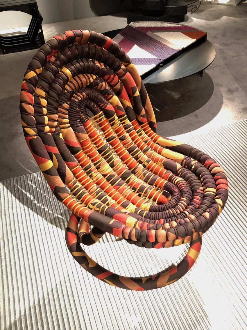 Her new methods of weaving have yielded interesting pieces of furniture.
