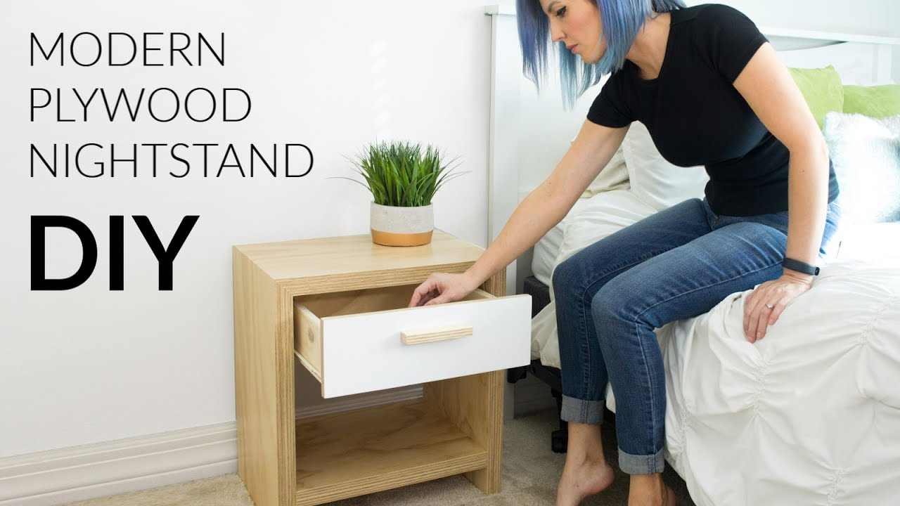 DIY Modern Plywood Nightstand W Waterfall Edge