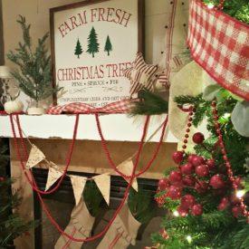 Farm Fresh Fireplace Mantel For Christmas