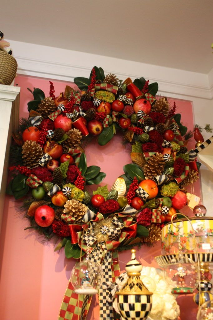 Try using a big and bountiful wreath indoors.