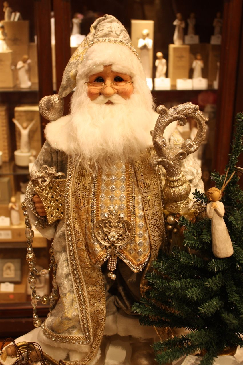 Embroidery and plenty of jewels make this an opulent Santa.