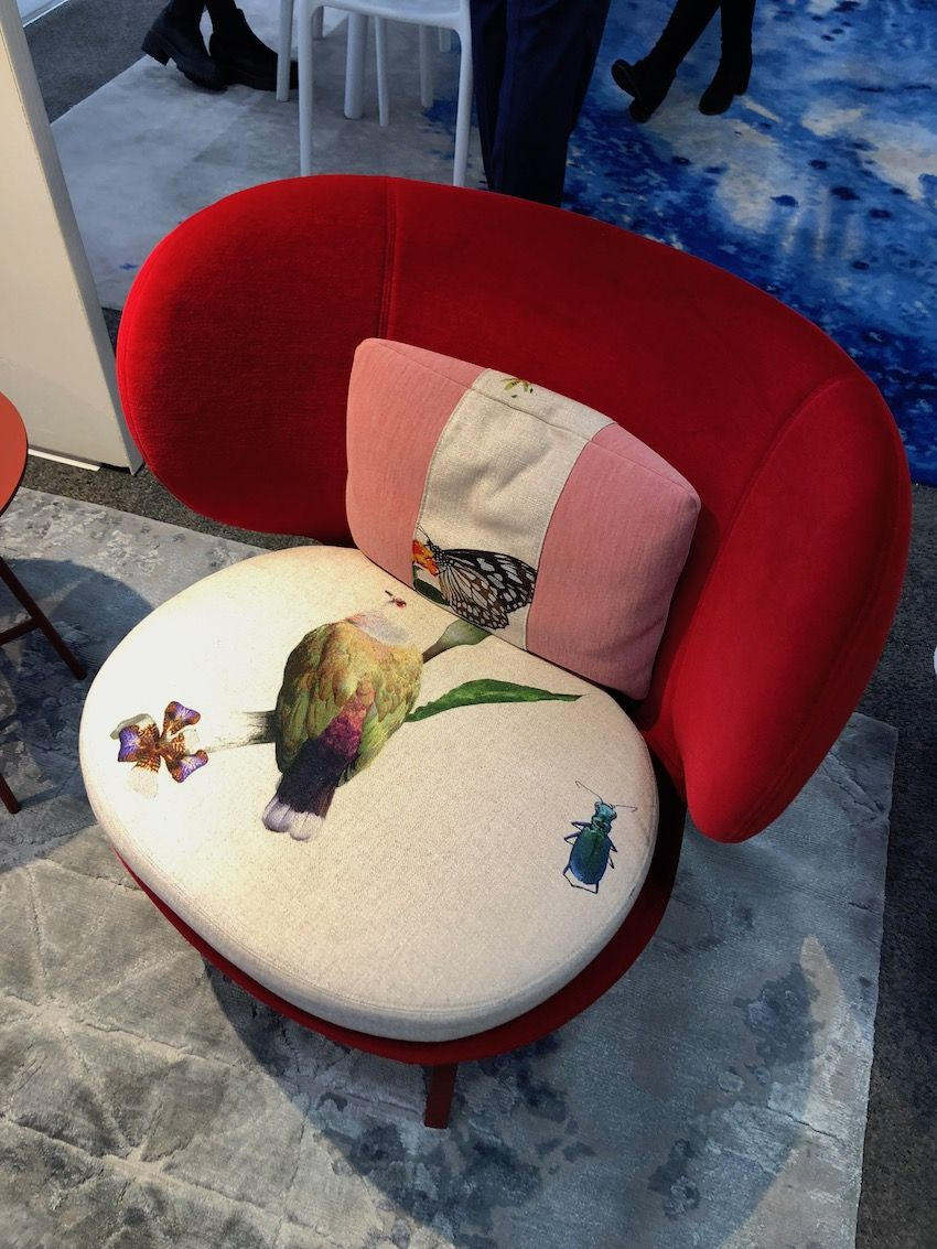 A print that includes flora and fauna adds extra interest to an already stylish chair,