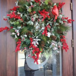 Red and green front door Wreath