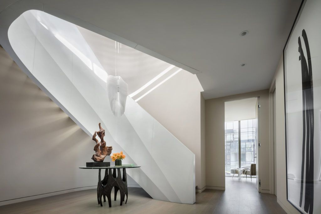 The staircase was designed by Hadid herself.