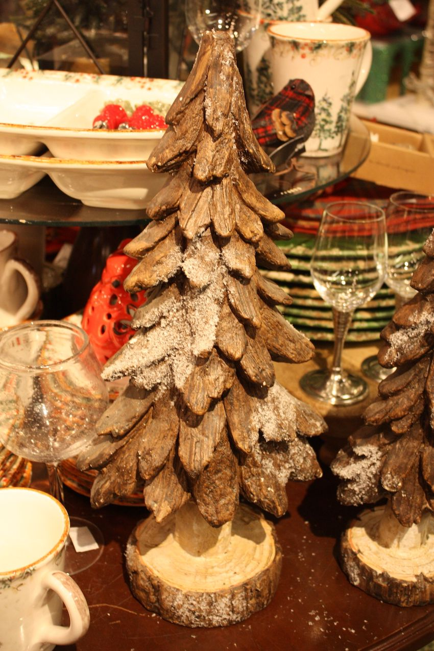 Some mini Christmas trees are more rustic than others.