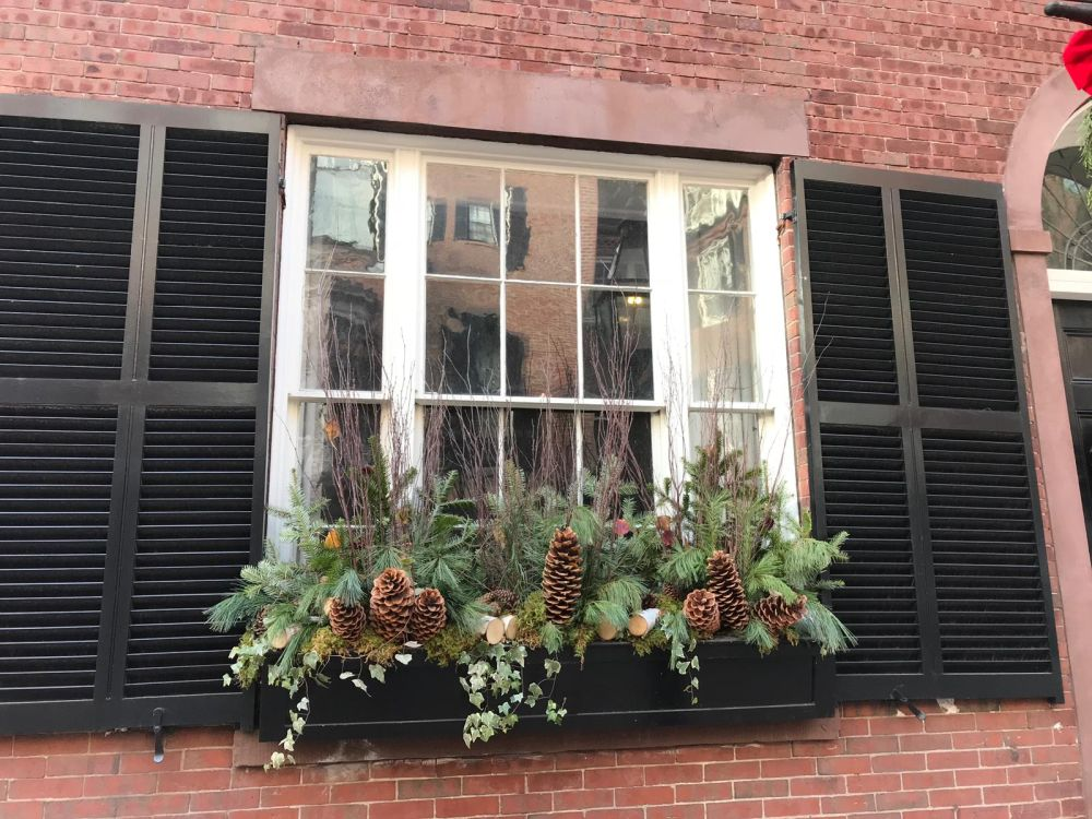 Window boxes are usually pretty empty this time of the year so use this as an opportunity to display some Christmas decorations