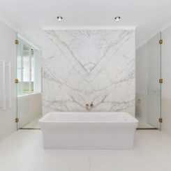 Bathroom with large marble wall and walk in shower