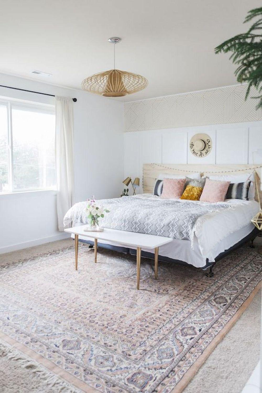 Beautiful white boho bedroom interior design