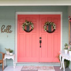Coral painted front doors