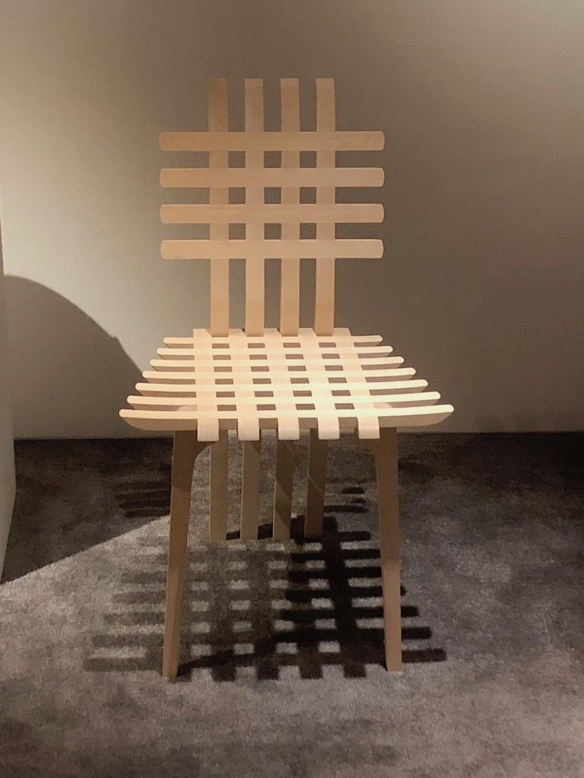 This chair is crafted from ash wood.